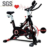 Tiptiper Indoor Cycling Bike Stationary Exercise Bike with 35lbs Flywheel, Sensor and LCD Monitor, Comfortable Seat Cushion, Phone/IPad Holder for Home Office, Easy to Assemble and Move