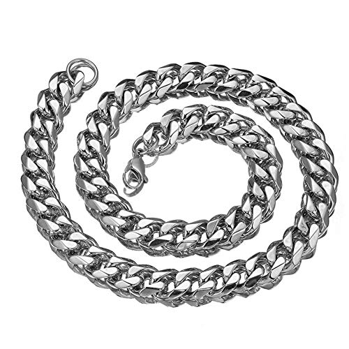 (Mens Stainless Steel Silver Tone 7-40 inch 15MM Heavy Cuban Curb Link Chain Necklace Bracelet)