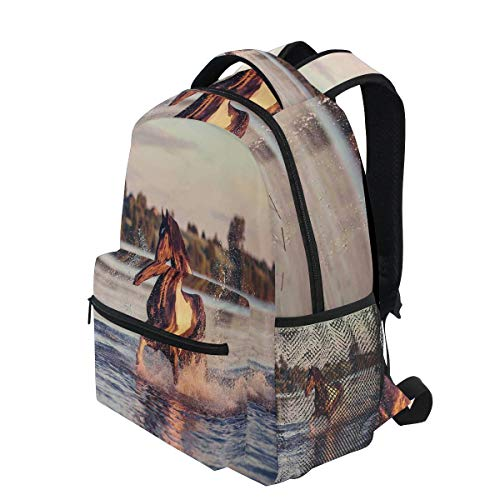 KVMV Horse Galloping Forward Lake Spirit Winds Emblem of Freedom and Stability Theme Lightweight School Backpack Students College Bag Travel Hiking Camping Bags
