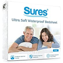 Waterproof Mattress Protector by Sures - Twin Size Bedsheet - Fitted Machine Washable Bed Sheets - Hypoallergenic and Vinyl Free Bed Cover - Incontinence and Child Protection