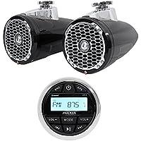 Pair Rockford Fosgate PM2652W-B 6.5 340 Watt Marine Wakeboard Speakers+Receiver