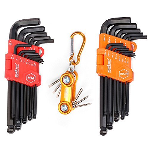 HORUSDY Hex Key Set, 32-Pieces Long Arm Ball End Allen Wrench Set, Inch/Metric and Mini Screwdriver Set, (Metric Screwdriver)