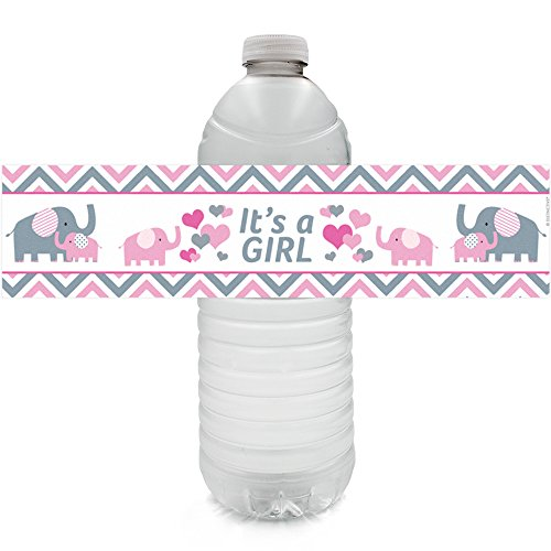 Pink and Gray Elephant Baby Girl Shower Water Bottle Sticker Labels (Set of 24) ()
