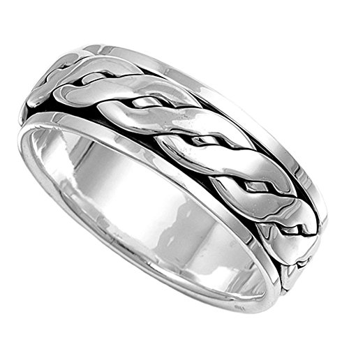 Sterling Silver Mens Celtic Knot Spinner Ring Beautiful 925 Band 8mm Size 8 ()
