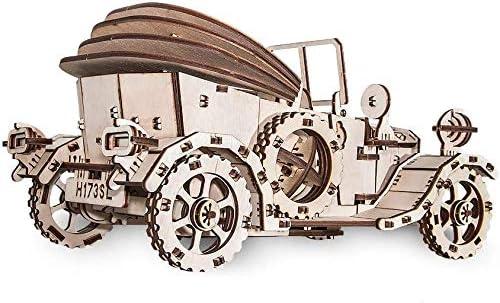 EWA Eco-Wood-Art Voiture Rétro Vintage 3D mécanique en Bois-Puzzle pour Adultes et Adolescents-Assemblage sans colle-315 pièces, Retrocar, Naturel