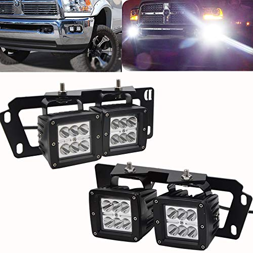 4x 3Inch 18W Dually LED Fog Light Pods Work Light Cube w/Hidden Bumper Mounting Bracket Fits for Dodge 2010-2019 Ram 2500 3500 & 2009-2012 Ram 1500