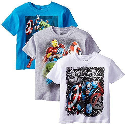 Marvel Boys' 3-Pack T-Shirt, Light Blue/Gray/White, (Marvels Kids)