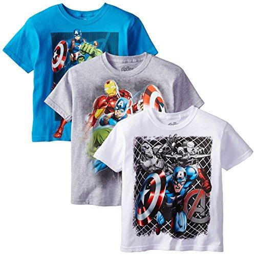 Marvel Boys' 3-Pack T-Shirt, Light Blue/Gray/White, (Kids Superhero Shirts)