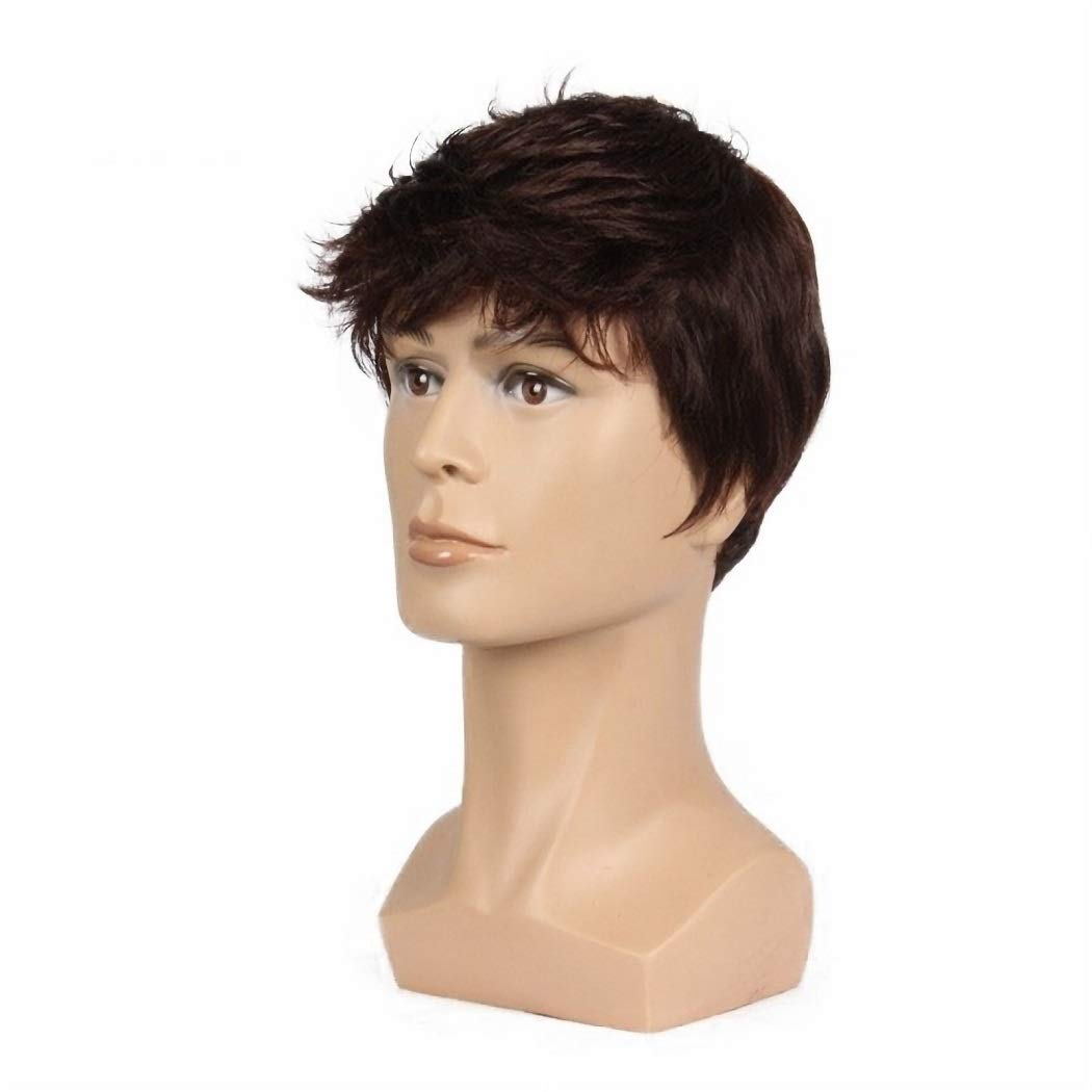 Amazon Com Men Short Brown Wig Handsome Male Daily Costume Synthetic Full Wigs Natural Brown Hair Replacement Wig Beauty