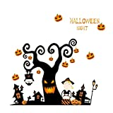 LUOEM Halloween Removable Wall Decals Pumpkin Window Stickers Evil Decoration