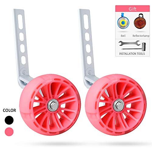 SPORUS Bicycle Training Wheels Heavy Duty Rear with Stabilizers Mounted Kit for Kids Boys Girls 14, 16, 18, 20 Inch[2019 Thicken Version Pink]