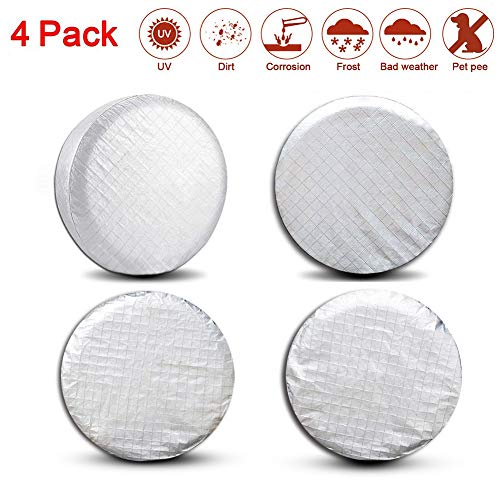 Valleycomfy Set of 4 Tire Covers- Tire Protectors RV Wheel Motorhome Wheel Covers,Waterproof Aluminum Film Tire Sun Protectors,Cotton Lining Tire Covers (19-22inches)