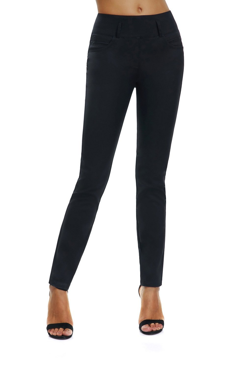 VIKUCI Women's Straight Fit Pull-on Trouser Pants for All Occaisions (L, Black)