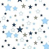 Pingianer - Tela de algodón para niños, 100 % algodón, por metros, artesanía, tela de costura, diseño de estrellas, algodón, Blanco, rosa, azul., 100x160cm (11,99€/m): Amazon.es: Bebé