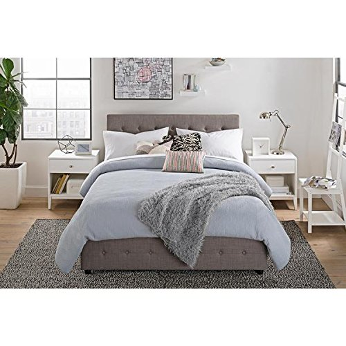 DHP Cambridge Grey Linen Upholstered Bed with Storage - Fabric