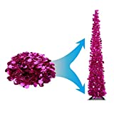 3SPRINGS (New Launch) Joy-Leo Pink Decorative Artificial Tree for Wedding & Home & Party, LED String Lights Mate Tree, Shiny Four-Season Christmas Tree, Glittering & Sparking, Collapsible & Reusable