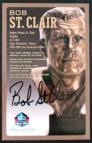 (PRO FOOTBALL HALL OF FAME Bob St. Clair Signed Bronze Bust Set Autographed Card with COA (Limited Edition #95 of 150))