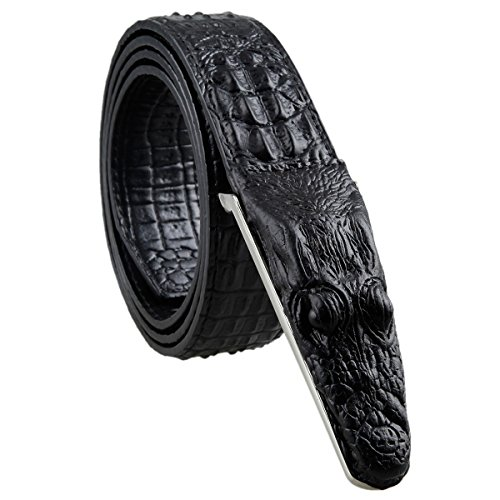 Crocodile Belt (Samtree Mens Adjustable Leather Belt Embossed Alligator Plaque)