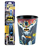 Batman Kids Toothbrush Bundle: 2 Items - Turbo Powered Toothbrush, Character Rinse Cup