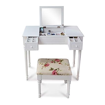 Amazon.com: Homredon Makeup Vanity Table Set with 2 Drawers ...