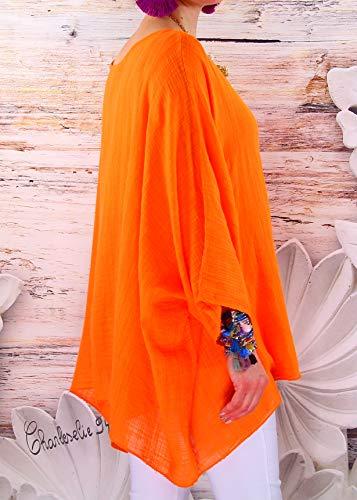 Charleselie94® Tunique Poeme Bohème Orange Taille Poncho Grande Été xP8wSqO