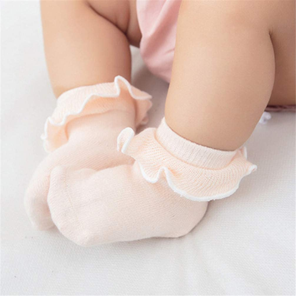 gray Toporchid Baby Girls Cotton Frilly Lace Ruffle Socks Ankle Socks