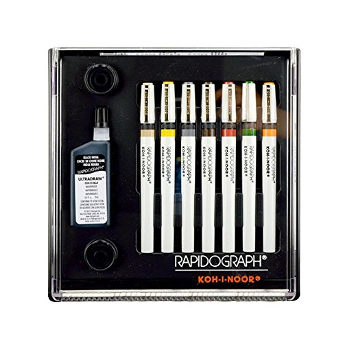 Koh-I-Noor Rapidograph Stainless Steel 7 Pen Artists Set (Koh I Noor Rapidograph Pen Set)