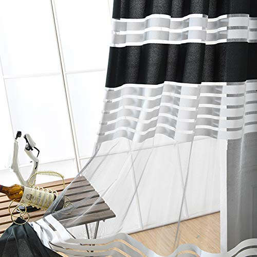 ASide BSide Black and White Striped Jacquard Rod Pockets Gauzy Sheer Curtains Voile Drapes Treatment of Window for Living Room, Bedroom and Kid's room (1 Panel, W52 x L104 Inches, Black and White) by ASide BSide