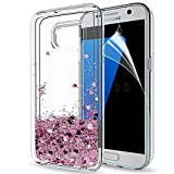 Galaxy S7 Edge Glitter Case with 3D Pet Screen Protector [2 Pack] for Girls Women,LeYi Bling Shiny Moving Quicksand Liquid Clear TPU Protective Phone Case for Samsung Galaxy S7 Edge ZX Rose Gold