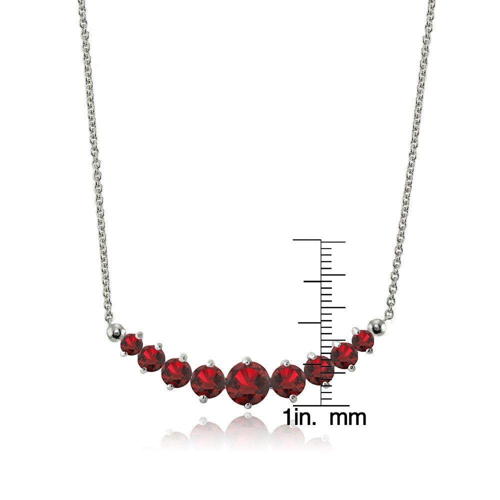 Lovve Sterling Silver Gemstone Graduated Small Dainty Journey Necklace with 18 Inch Chain, Choice of Colors