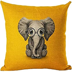 Funny Lovely Animals Abstract Adorable Elephant Baby Wearing Glasses Yellow Background Cotton Linen Throw Pillow Case Personalized Cushion Cover NEW Home Office Indoor Decorative Square 18 X 18 Inches