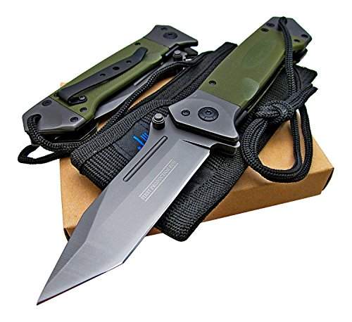 Tactical Spring Assisted Opening Knife: OD Green G-10 Handles - Razor Sharp Tanto Blade - Every Day Carry - Includes Landyard and Heavy Duty Cordura Sheath. Bundle - 2 items: 1 knife and 1 sheath (Opening Spring Knife Assisted)