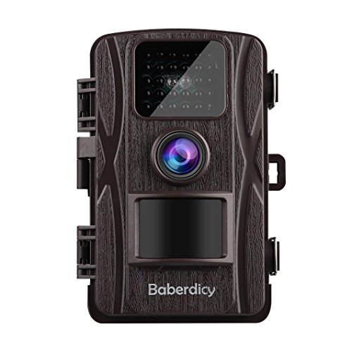 Baberdicy Trail Camera, 1080P 12MP HD Wildlife Camera Motion Activated Night Version,Waterproof Game Hunting Cam 120°Wide Angle, 0.2s Trigger Time, 65ft Range (Brown) by Baberdicy