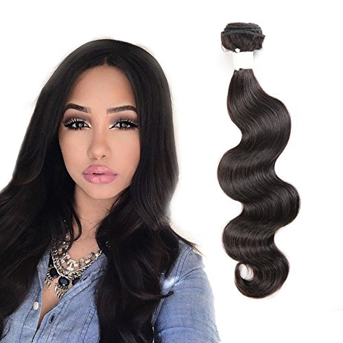 Generic BUGUQI Rita New 7A Brazilian Body Wave Silky And Soft Brazilian Virgin Hair Extensions Natural Black 22inches Single Bundle (22 in)