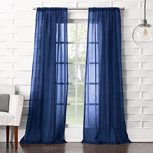 "No. 918 Tayla Crushed Sheer Voile Rod Pocket Curtain Panel, Indigo Blue, 50"" x 95"""