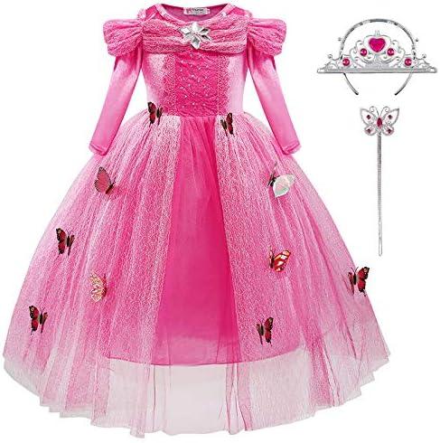 YUANMY Vestido de Princesa Nina Disfraz Fiesta Bebe Rosa Mangas ...