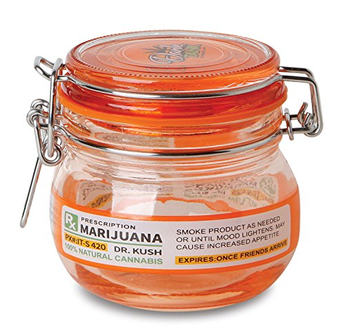 KEEP YOUR HERBS FRESH!!!!-- SUPER HEAVY DUTY 5 Oz Glass Stash Jar with Air Tight Seal - Small (Prescription) (Small Glass Jars For Herbs compare prices)