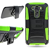 CoverON® for LG G3 Belt Clip Holster Case [Explorer Series] Hybrid Heavy Duty Protective Phone Cover with Kickstand - ( Neon Green / Black )