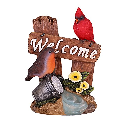 Hannahs cottage Bird Welcome Sign Garden Statue with Solar Light,Polyresin Garden Figurine for Outdoor Decoration(Outdoor Paradise)