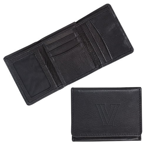 CollegeFanGear Villanova Canyon Tri Fold Black Leather Wallet 'Primary Mark Engraved' by CollegeFanGear