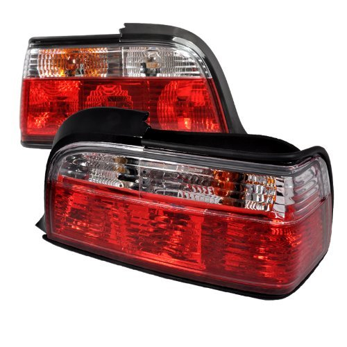 Spec-D Tuning LT-E362RPW-APC Bmw E36 3-Series 2Dr Euro Red Clear Tail (Bmw E36 2dr Corner Lights)