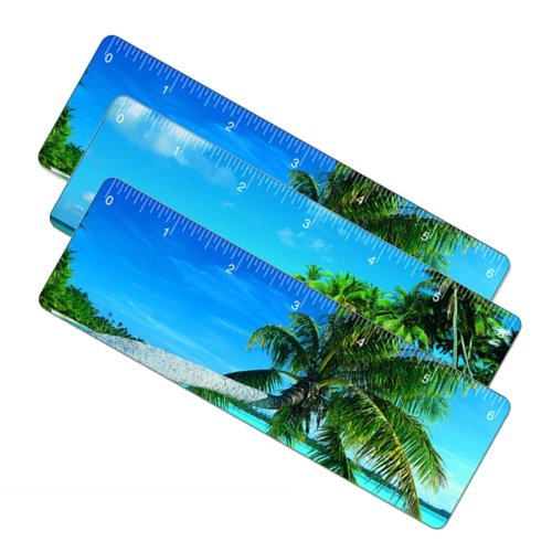 SetOf3 6In Lenticular Flip Ruler Bookmark Tropical Island Hawaii ()