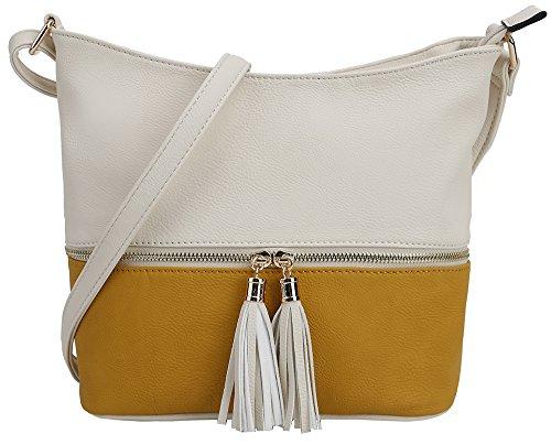DELUXITY Medium Size Hobo Crossbody Bag with Tassel/Zipper Accent (Ivory/Mustard)