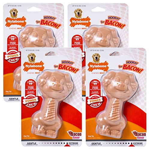 Nylabone 4 Pack of Power Chew Pig Chew Toys, Giant, Bacon Flavored Dog Toys
