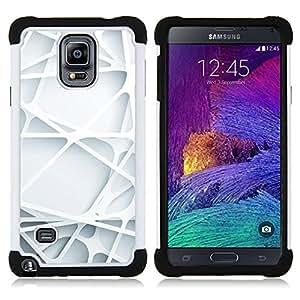 """Samsung Galaxy Note 4 IV / SM-N910 - 3 en 1 impreso colorido de Altas Prestaciones PC Funda chaqueta Negro cubierta gel silicona suave (3D Arte Líneas Web plástico blanco limpio"""")"""