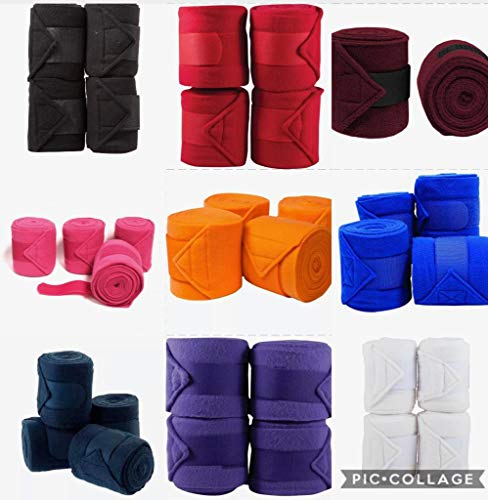Lift Sports Horse Fleece Bandages/Polo Wraps/Stable Wraps Equestrian Leg Wraps Set of 4 TACK Equestrian Boots Protection (Maroon)
