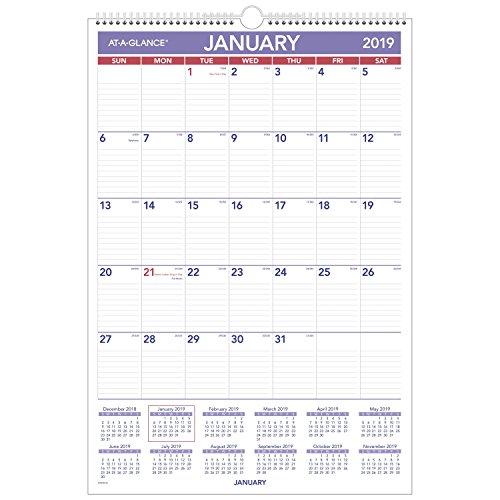 AT-A-GLANCE 2019 Monthly Wall Calendar, 15-1/2 x 22-3/4, Medium, Wirebound, Erasable, Dry Erase (PMLM0328)