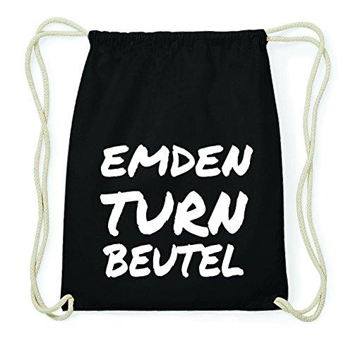 JOllify EMDEN Hipster Turnbeutel Tasche Rucksack aus Baumwolle - Farbe: schwarz Design: Turnbeutel