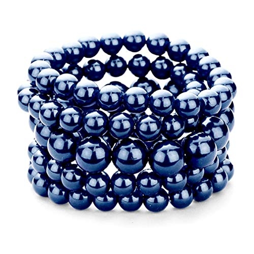 Uniklook Chic Urban Stack Arm Party Five Layered Bangle Simulated-Stone Beads Bracelet Jewelry (Navy Blue) ()