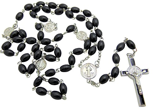 (St. Benedict Oval Catholic Wood Rosary for Men, Black)